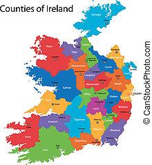 kaart, ierland