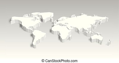 kaart, illustratie, vector, wereld, shadow., 3d