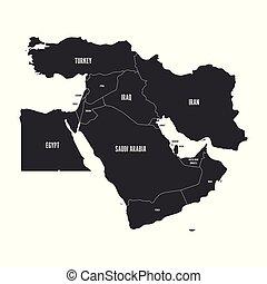 kaart, ilustration, eenvoudig, politiek, plat, grey., middelbare , vector, oosten, of