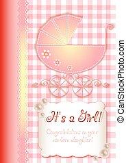kaart, in, scrapbooking, stijl, voor, begroetenen, met, pasgeboren, meisje