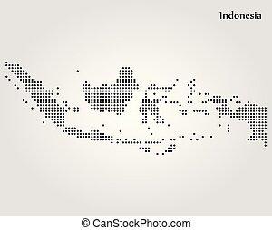 kaart, indonesia., vector, illustration., wereld