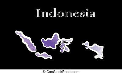kaart, indonesie, enig