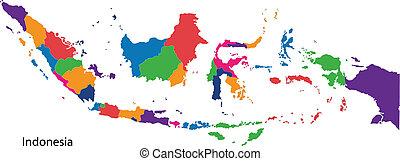 kaart, indonesie, kleurrijke