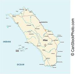 kaart, indonesisch, eiland, nias, vector, straat