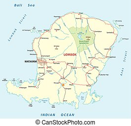 kaart, indonesisch, eiland, vector, lombok, straat
