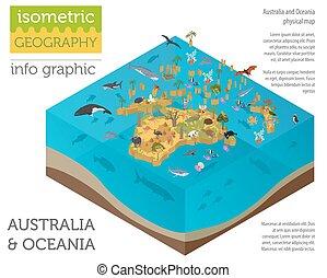 kaart, isometric, flora, oceanië, elements., dieren, verzameling, vogels, australië, bouwen, zee, infographics, eigen, life., fauna, 3d, jouw, aardrijkskunde