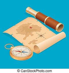 kaart, isometric, oud, schat, illustratie, verwoeste, zeerover, vector, kompas, perkament, verrekijker