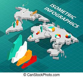 kaart, isometric, wereld handel, infographics
