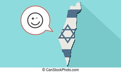 kaart, israël, balloon, lang gezicht, knipoog, vlag, animatie, komisch, zijn, schaduw, emoji