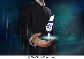 kaart, israël, globe, achtergrond, zakenman, het tonen