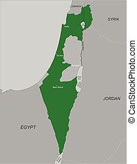 kaart, israël, politiek