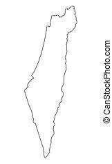 kaart, israël, schets