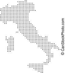 kaart, italië, dotted