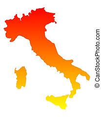 kaart, italië