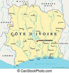 kaart, ivoor, politiek, kust