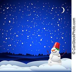 kaart, jaarwisseling, kerstmis, sneeuwpop
