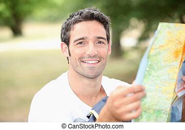 kaart, jonge man