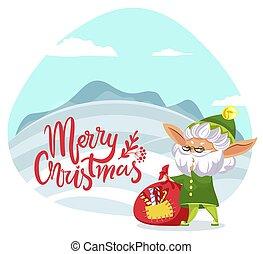 kaart, kadootjes, vrolijk, groet, kerstmis, elf