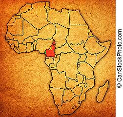 kaart, kameroen, daadwerkelijk, afrika