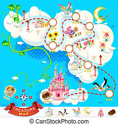 kaart, kasteel, schat, hemel, zeerover