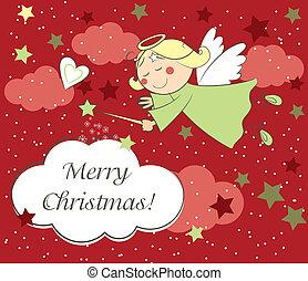 kaart, kerstengel