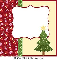 kaart, kerstmis, begroetenen, mal, leeg