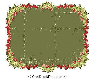 kaart, kerstmis, bes, ontwerp, hulst, ouderwetse