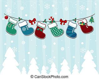 kaart, kerstmis, kinderlijk