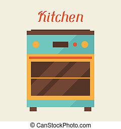 kaart, keuken, retro, oven, style.