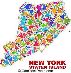 kaart, kleur, eiland, -, staten, mozaïek, driehoeken