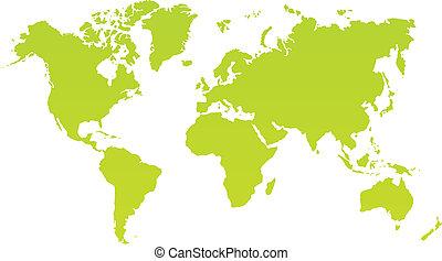 kaart, kleur, moderne, bac, wereld, witte