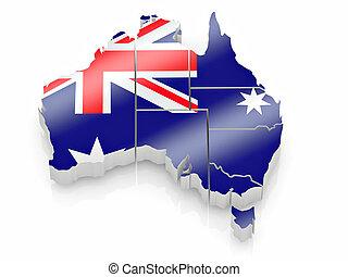 kaart, kleuren, australië vlag, australiër