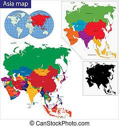 kaart, kleurrijke, azie