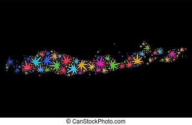 kaart, kleurrijke, bladeren, indonesie, marihuana, flores, eilanden, mozaïek