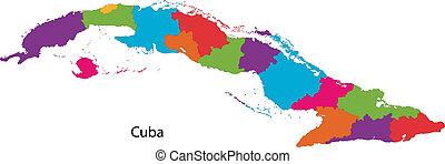 kaart, kleurrijke, cuba