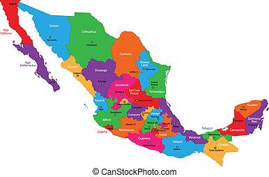 kaart, kleurrijke, mexico