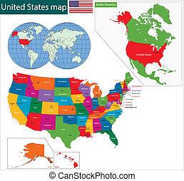 kaart, kleurrijke, usa