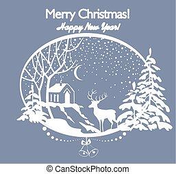 kaart, knippen, boompje, winter, firs, woning, sneeuw, groet, hertje, papier, retro, kerstmis, landscape, uit