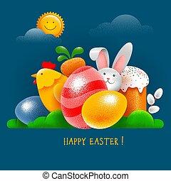 kaart, konijntje, eitjes, taart, pasen, vrolijke , chicken, symbolen, groet