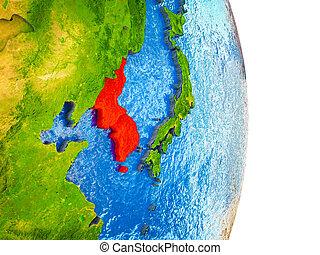 kaart, korea, 3d, aarde