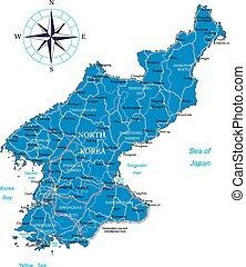 kaart, korea, noorden