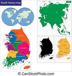 kaart, korea zuiden