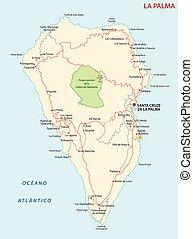 kaart, la, eiland, kanarie, vector, palma, straat