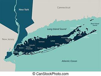 kaart, lang eiland