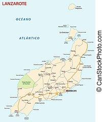 kaart, lanzarote, straat, canary eiland