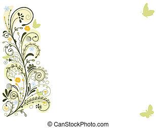 kaart, lente, floral