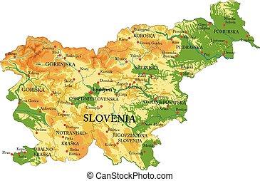 kaart, lichamelijk, slovenië