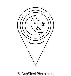 kaart, maan, wijzer, ster, pictogram