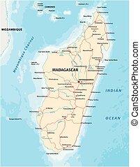 kaart, madagascar, vector, republiek, straat