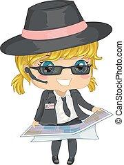 kaart, meisje, agent, illustratie, geitje